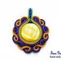 Színes sujtás medál, Ékszer, Medál,  A készítésénél felhasználtam:  - sujtás zsinór (zöld, citromsárga, narancssárga, lila, k..., Meska