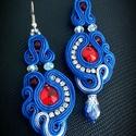 Kék ezüst sujtás fülbevaló, Ékszer, Fülbevaló,  A készítésnél felhasználtam:  - sujtás zsinór (királykék, ezüst ) - 12 mm-es kör alakú ..., Meska