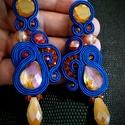 Narancs kék swarovski sujtás fülbevaló, Ékszer, Fülbevaló, Egyedi elegáns narancs kék swarovski fülbevaló.  A készítésnél felhasználtam:  - sujtás zs..., Meska