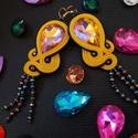 Sárga sujtás fülbevaló, Ékszer, Fülbevaló, Ékszerkészítés, A készítésnél felhasználtam:  - sujtás zsinór ( napsárga, navyblue) - kristály csepp alakú ( opál A..., Meska