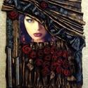 Díva, paverpol kép, Dekoráció, Képzőművészet, Kép, Textil, Alapozott karton alapon textil felrakás. Mérete 40*50. Középpontban egy minőségi vászonra nyo..., Meska
