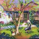 Várakozás, Képzőművészet, Festmény, Olajfestmény, Festészet, Festmény 50*60, olaj, vászon Az egyedül maradt idős anya, nagymama várja, hogy valaki érkezzen végr..., Meska