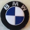BMW párna, Férfiaknak, Otthon, lakberendezés, Lakástextil, Párna, Varrás, Patchwork, foltvarrás, Népszerű emoji párnák puha polár anyagból  ,minden korosztálynak.  átmérője:32cm vastagsága: 8cm  M..., Meska