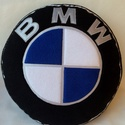 BMW párna, Férfiaknak, Otthon, lakberendezés, Lakástextil, Párna, Varrás, Patchwork, foltvarrás, Népszerű autós párnák puha polár anyagból  ,minden korosztálynak.  átmérője:32cm vastagsága: 8cm  M..., Meska