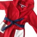 Piros-fehér-sötétkék gyerek polár köntös, Ruha, divat, cipő, Gyerekruha, Kisgyerek (1-4 év), Anyaga: polár Mérete: 2-4 év, Meska