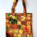 Tészta és zöldség mintás bevásárló táska, Táska, Szatyor, 1 réteg digitális nyomtatású, dekortextilből készült bevásárlótáska. Anyaga: biopamut Mé..., Meska