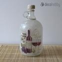 Vino Rosso Borosüveg, Dekoráció, Otthon, lakberendezés, Mindenmás, Decoupage technikával készült 2l-es borosüveg.  Az üvegre rizspapír és boros szalvéta kerül..., Meska