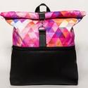 Geometriai mintás pink roll up táska - vízhatlan, Absztrakt mintájú pink roll up táska  Alsó ré...