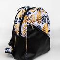 Egyedi hátitáska - fehér alapon fekete és arany levelekkel, Egyedi tervezésű kézműves hátitáska  Vízhat...