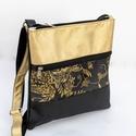 Fekete-arany, virágmintás oldaltáska, Fekete és arany textilbőrből, valamint mintás ...