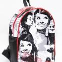 Audrey Hepburn hátizsák, Erős, tartós dekorvászonból és fekete textilb...