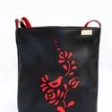 Magyaros textilbőr oldaltáska madaras, tulipános mintával, Piros és fekete textilbőrből készült oldaltá...