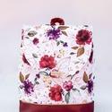 Bordó - fehér, virágos hátizsák, Kézműves hátizsák  Bordó textilbőrből és m...