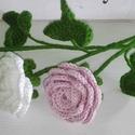 1 szál horgolt rózsa, Dekoráció, Anyák napja, Csokor, Ünnepi dekoráció, Ez a horgolt rózsaszál örökké szép, sosem hervad és bármikor akár, megkésve is ajándékoz..., Meska