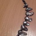Biwa gyöngy nyaklánc, Ékszer, óra, Nyaklánc, Szürke-kékes-lilás erezett-márványos  szép fényü biwa (tenyésztett édesvizi) gyöngyökbő..., Meska