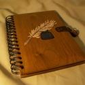 Napló,emlékkönyv fa borítással, Egyedileg tervezett és készített fa fedeles nap...