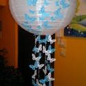 Kék pillangós lámpa búra, Baba-mama-gyerek, Dekoráció, Gyerekszoba, Mobildísz, függődísz, Papírművészet, Gyerekszobába hálószobába egyedi tervezés alapján kék pillangós rizslámpa búra., Meska