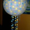 Kék-sárga csillagos lámpa búra 30 cm, Baba-mama-gyerek, Otthon, lakberendezés, Gyerekszoba, Lámpa, Papírművészet, Kék-sárga csillagos rizs lámpa búra 30 cm átmérőjű, Meska