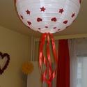 Karácsonyi lámpa búra piros-fehér mintával, Baba-mama-gyerek, Dekoráció, Otthon, lakberendezés, Ünnepi dekoráció, Papírművészet, A karácsonyi hangulat megteremtését teljessé teszi, ez a piros-fehér karácsonyi mintás lámpa búra. ..., Meska