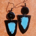 Kék - fekete tűzzománc fülbevaló, Ékszer, Fülbevaló, Két részből álló tűzzománc fülbevaló, Meska