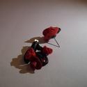 Fülbevaló r?zsa bokor fekete piros, Ékszer, Fülbevaló, Fimo gyurmából készült. A fém alkatrészek előre gyártok ékszer alapanyagok. Kristályokkal ..., Meska