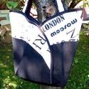 Fekete -fehér tulipántáska, Táska, Válltáska, oldaltáska,  Könnyű, közepes méretű pakolós táska.Mosógépben mosható. , Meska