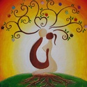 Szerelemfa , Képzőművészet, Festmény, Akril, Festészet, 30x30x1,5 cm-es vászonfestmény. Fixatív spay-vel van lekezelve, hogy időtálló maradjon. Egy darab k..., Meska