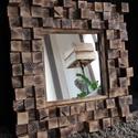 Tükör, Fali tükör, Rusztikus tükör, Otthon, lakberendezés, Képkeret, tükör, Famegmunkálás, A 62x62 cm-es tükör (tükör mérete 34x34 cm) Gyönyörű megoldás azoknak, akik ruszikus vagy loft hatá..., Meska