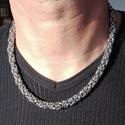 Férfi nyaklánc nemesacélból, Férfiaknak, Ékszer, kiegészítő, Chainmaille technikával készült nyaklánc orvosi  acél karikákból. Markáns, kifejezetten férfias dara..., Meska