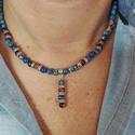 Kék császárkő és tigrisszem uniszex nyaklánc , Ékszer, Férfiaknak, Nyaklánc, Ékszer, kiegészítő, Kék császárkő (regalit, üledékes jáspis) és tigrisszem gyöngyökből és ezüst színű fém elemekből kész..., Meska