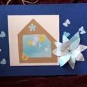 Kék nagyvirágos, Naptár, képeslap, album, Képeslap, levélpapír, Papírművészet, Az egyedi képeslapok színes, vidám, vagy visszafogottan elegáns üzenethordozók. Kifejezhetjük velük..., Meska