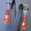 Karneol csepp ezüst fülbevaló, Gyönyörű tüzes narancsszinű karneol fülbeval...