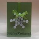 Zöld karácsonyi üdvözlőkártya, Dekoráció, Karácsonyi, adventi apróságok, Ünnepi dekoráció, Ajándékkísérő, képeslap, Papírművészet, Sziasztok!  A képen látható zöld alapszínű karácsonyi üdvözlőkártyát kínálom nektek. Az alapszíneke..., Meska