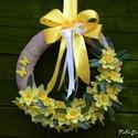 Ajtódísz,kopogtató,tavaszi koszorú, Ez a tavaszi ajtódísz tartós anyagból készül...