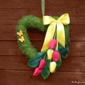 Ajtódísz,kopogtató,, faldísz ,esküvő,anyáknapja, tulipánnal díszítettem ezt a szív alakú ajtó...