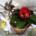 Ül a fészkén a kismadár, jaj de jó húsvét jön már!  Asztaldísz piros kankalinnal, Fonott kosárba ültettem tavaszi kankalint és me...