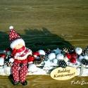 Fehér karácsonyi asztaldísz télapóval, Egy faköteget díszítettem télapóval és apró...