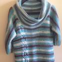 kézzel kötött pulóver, Ruha, divat, cipő, Kötés, Kézzel kötött szabad szabású pulóver, csavart mintával. Anyag:akril  Méret: L , Meska