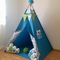Türkiz csillag indián sátor - Tipi, Baba-mama-gyerek, Gyerekszoba, Gyerekbútor, Varrás, A gyerekek imádnak kuckózni, sátrat építeni.  Ha meguntad a pokrócokból épített bunkert a nappali k..., Meska