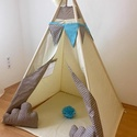 Bézs álom indián sátor - Tipi, Baba-mama-gyerek, Gyerekszoba, Gyerekbútor, Varrás, A gyerekek imádnak kuckózni, sátrat építeni.  Ha meguntad a pokrócokból épített bunkert a nappali k..., Meska