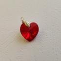 Swarovski piros szív medál , Ékszer, óra, Medál, Swarovski piros szív medál. 18mm, Meska