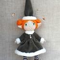 Karácsonyi manó- Marilla, Baba-mama-gyerek, Játék, Dekoráció, Baba, babaház, Baba-és bábkészítés, Marilla kb 15 cm magas (+ kalap) drótból, textilből és gyapjúból készült dekorációs baba, vagy játé..., Meska