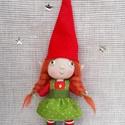 Karácsonyi manó (kicsi)- Tilli, Játék, Dekoráció, Karácsonyi, adventi apróságok, Ünnepi dekoráció, Baba-és bábkészítés, Tilli mindössze 18 cm magas (kalappal együtt)  drótból, textilből és gyapjúból készült dekorációs b..., Meska