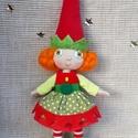Karácsonyi manó- Dalma, Játék, Dekoráció, Karácsonyi, adventi apróságok, Ünnepi dekoráció, Baba-és bábkészítés, Dalma kb. cm magas (+ kalap))  drótból, textilből és gyapjúból készült dekorációs baba, vagy játék...., Meska