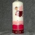 Keresztelő angyalos gyertya, Otthon, lakberendezés, Dekoráció, Gyertya, mécses, gyertyatartó, Ünnepi dekoráció, Gyertya-, mécseskészítés, Keresztelő gyertya / szerencse gyertya [RKD001]  63 x 200 mm-es fehér gyertya rózsaszín/pink/padliz..., Meska