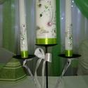 Esküvői gyertya SZETT, Esküvő, Esküvői dekoráció, Gyertya-, mécseskészítés, Zöld és rózsaszín kristállyal kirakott gyertya, mely egy különleges virágot alkot, A virág törzse e..., Meska