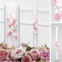 Esküvői gyertya, Esküvő, Esküvői dekoráció, Gyertya-, mécseskészítés, Fehér alapon fehér nagy szirmú virágokkal, rózsaszín rózsákkal, valamint rózsaszín és csillogó ezüs..., Meska