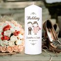Esküvői gyertya, Esküvő, Dekoráció, Gyertya-, mécseskészítés, Fotó, grafika, rajz, illusztráció, Vidám,  fiatalos esküvői gyertyaszett. A nagy gyertyán egy vőlegény és egy menyasszony rajzfigura, ..., Meska