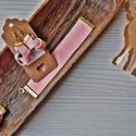 Púder bőr szett, Ékszer, Ékszerszett, Karkötő, Fülbevaló, Elegáns, egyedi púder rózsaszín valódi bőr ékszerszett: hosszú lánc, fülbevaló és karkö..., Meska