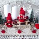 Téli, manós,szánkós adventi dísz, Dekoráció, Karácsonyi, adventi apróságok, Otthon, lakberendezés, Ünnepi dekoráció, Mindenmás, Virágkötés, Fa dobozkát díszítettem csipkével, majd megtöltöttem száraz oázissal. Egy igazi kis téli jelenet te..., Meska